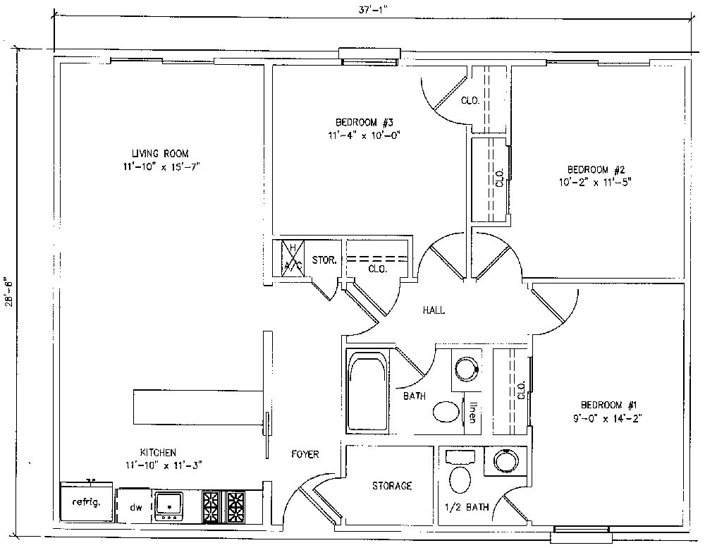 Bedroom Apartment - 1,000 Square Feet